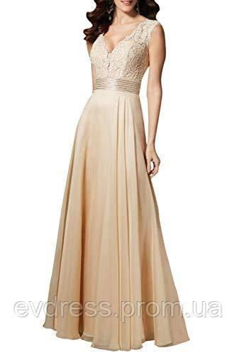 bb40a17aab030c4 Длинное вечернее платье бежевого цвета с кружевным верхом DL-22654 -  Интернет-магазин ev
