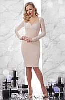 Нарядное бежевое платье, фото 1