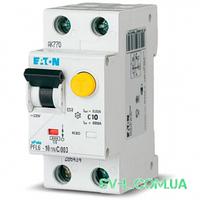 Дифавтомат 10A 30mA 6kA 2 полюса тип C тип AС PFL6-10/1N/C/003 Eaton (Moeller)