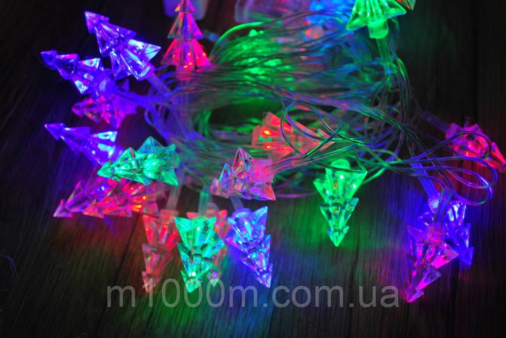 Новогодняя гирлянда Елочки 3D, 28 Фигурки, мультицветная