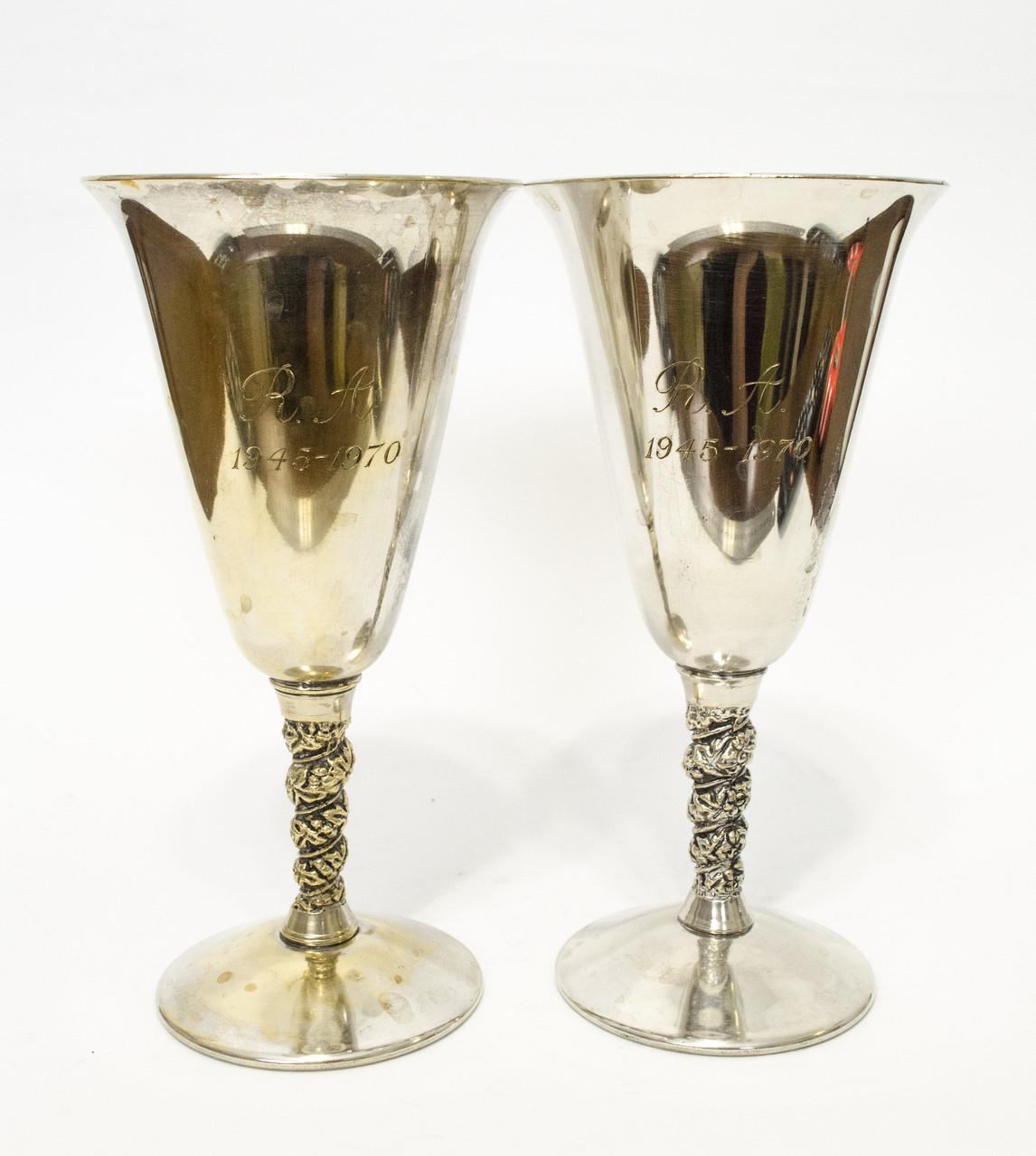 Два старых посеребренных бокала, серебрение, Испания,1970 года