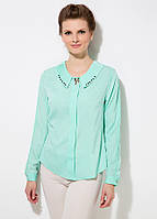 Голубая женская блуза MA&GI с бантиками