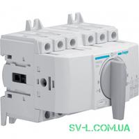 Переключатель ввода резерва поворотный I-0-II с универсальным общим выводом 1НО+1НЗ 3 полюса 400/690V 20А 5м Hager HIM302