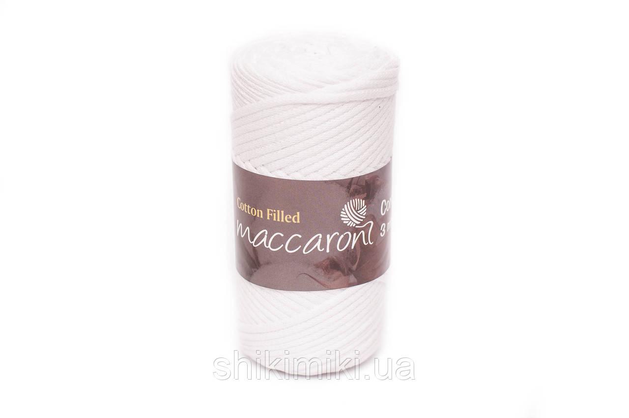 Трикотажный хлопковый шнур Cotton Filled 3 мм, цвет Белый