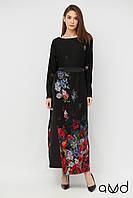 Женское платье-макси с  цветочным принтом, размеры 48,50,52