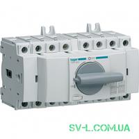Переключатель ввода резерва поворотный I-0-II с универсальным общим выводом 1НО+1НЗ 4 полюса 400/690V 20А 7м Hager HIM402