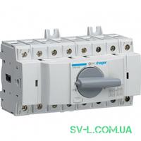 Переключатель ввода резерва поворотный I-0-II с универсальным общим выводом 1НО+1НЗ 4 полюса 400/690V 80А 8м Hager HIM408