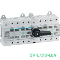 Переключатель ввода резерва поворотный I-0-II с универсальным общим выводом 1НО+1НЗ 4 полюса 80А 400/690V 12м Hager HI404R