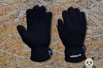 Теплые перчатки Adidas темно синего цвета (люкс копия)