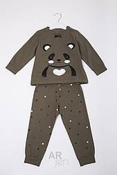 Детская пижамка панда (темно-коричневая)