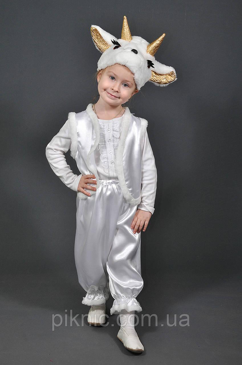 Детский костюм Козленок Козочка для мальчиков девочек 3-5 лет Костюм карнавальный козлик белый 342