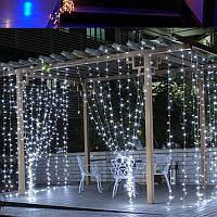 Светодиодная гирлянда штора LED 156 лампочек с коннектором: размер 2,2х2м, белый цвет