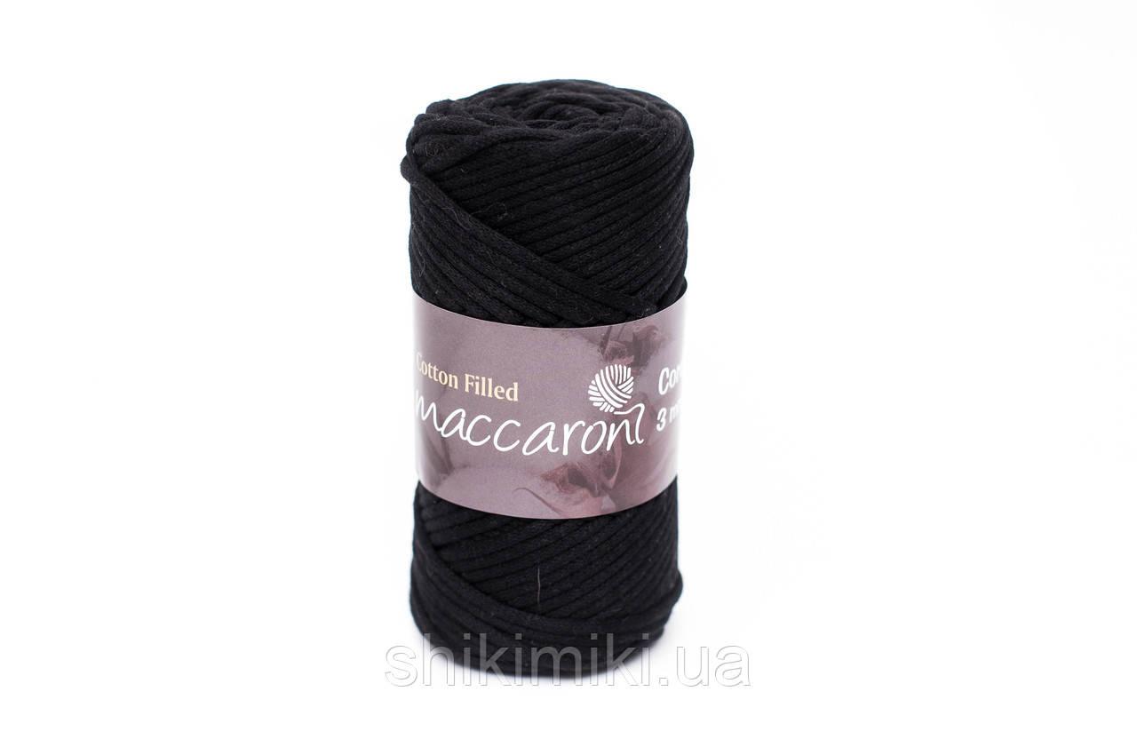 Трикотажный хлопковый шнур Cotton Filled 3 мм, цвет Черный
