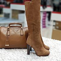 Сапоги  зимние натуральная замша и натуральный мех на каблуке коричневые, фото 1