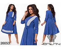 Шерстяное трикотажное платье с кружевом с 48 по 54 размер, фото 1