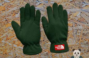 Теплые перчатки The North Face зеленого цвета (люкс копия)