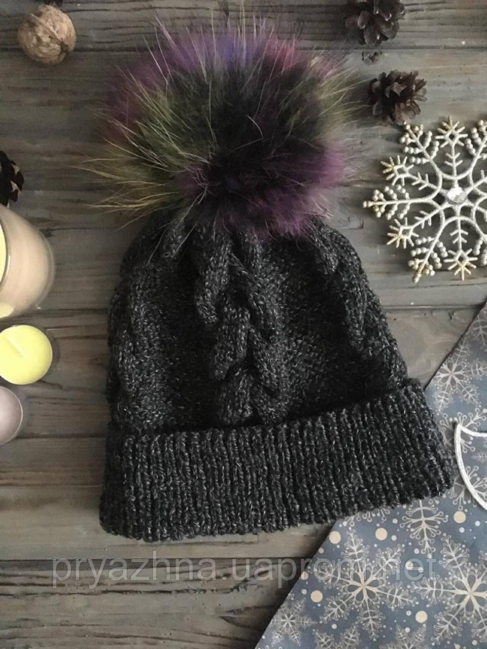 вязаная шапка с меховым помпоном шерстяная шапка модная вязаная
