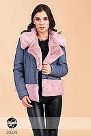 Женская джинсовая дубленка с эко-мехом. Модель 20339, размеры 42-48