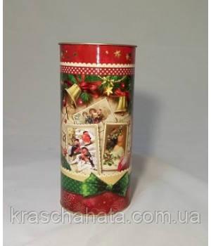 Новогодний тубус, Ретро, картонный тубкус для конфет, 600 гр,  Подарочная коробка для конфет