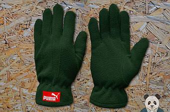 Теплые перчатки Puma зеленого цвета (люкс копия)