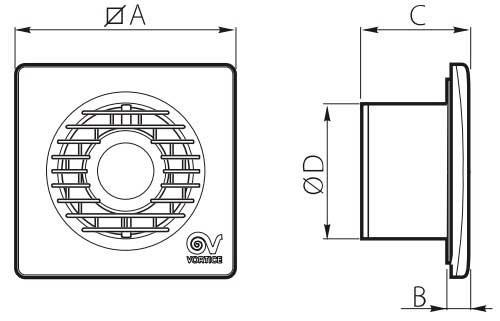 Габаритные размеры вытяжного вентилятора Vortice Punto Filo