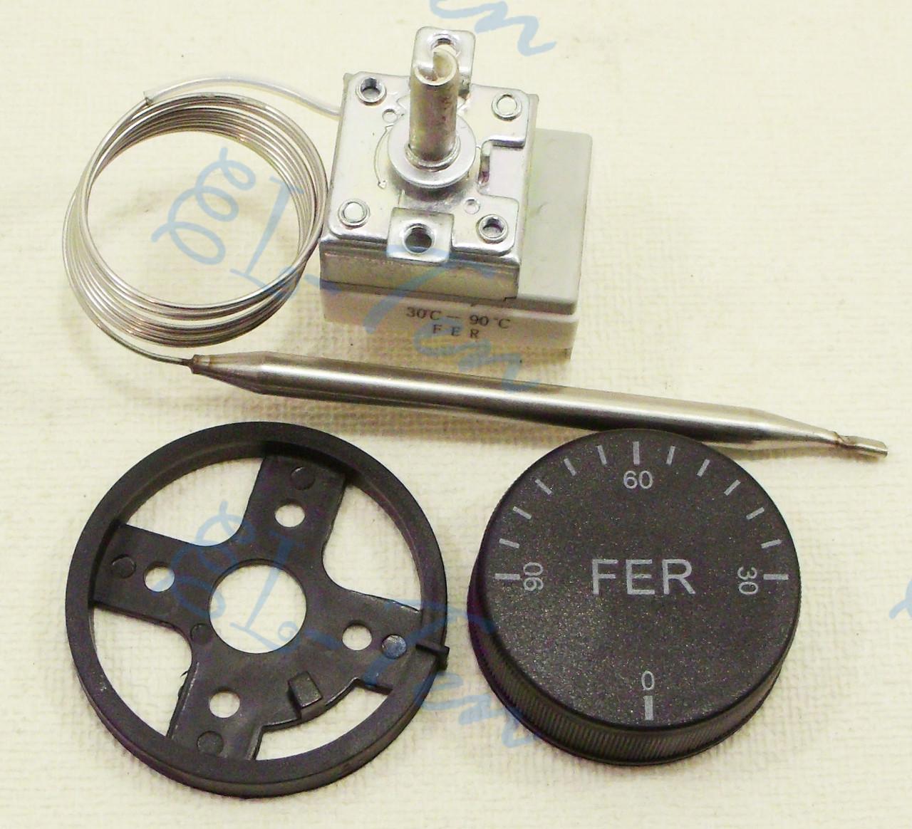 Терморегулятор механический от 30 до 90*С (16 А / 250 В) на 3 контакта. FER (Турция)