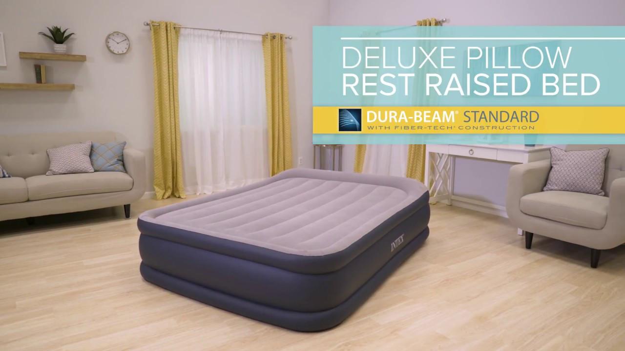 Надувная кровать Intex 64136 (152х203х42 см) c подголовником и электронасосом.