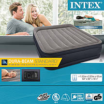 Надувная кровать Intex 64136 (152х203х42 см) c подголовником и электронасосом., фото 3