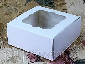 Коробка для печива, пряників, з вікном, 8 см х 8 см х 3 см, мілований картон