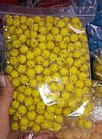 Помпоны с люрексом декоративные 1.8см, желтые