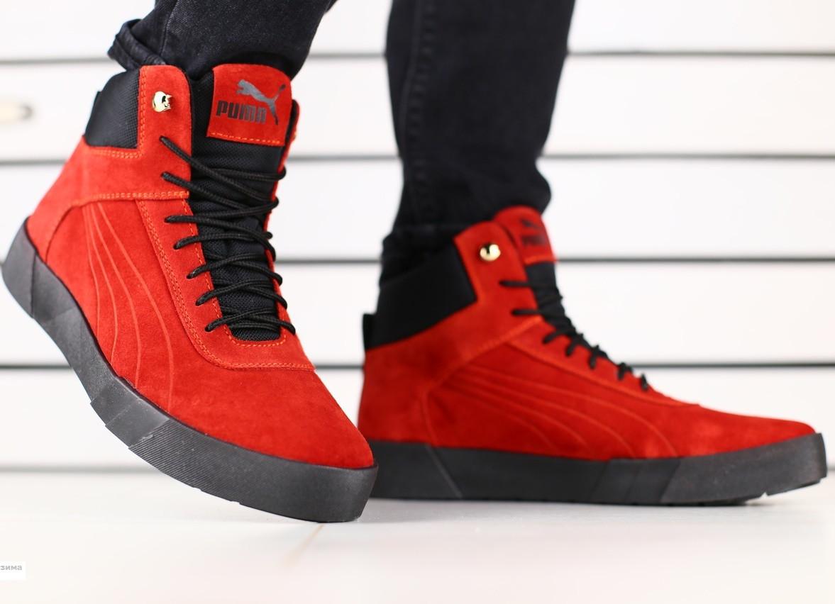 Теплые Высокие Мужские Замшевые Зимние Ботинки Кроссовки на Платформе PUMA  Красные D41LE72-3IL — в Категории