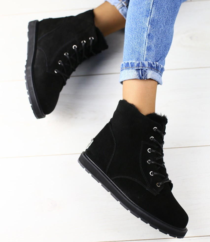 ea590a92 Топ зимние замшевые ботинки женские полусапожки на низком ходу на платформе  черные Х42СВ31IЕ