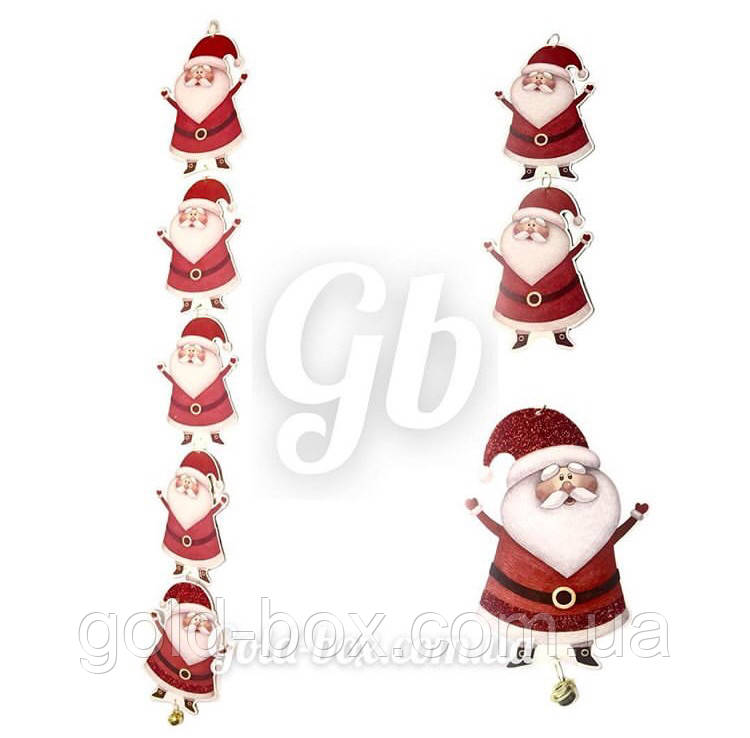 Новогодняя гирлянда «Дед мороз» с глиттером и бубенцами