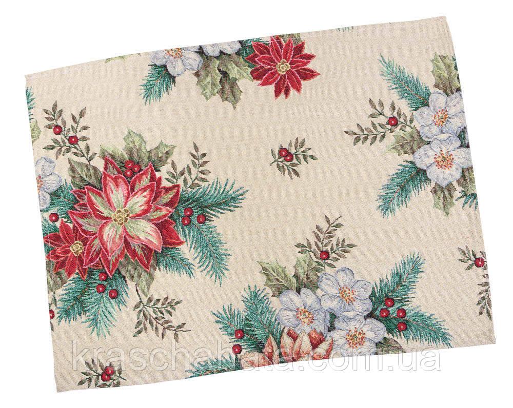 Серветка новорічна гобеленова, Різдвяний букет, 34х44 см, Ексклюзивні подарунки, Новорічний текстиль
