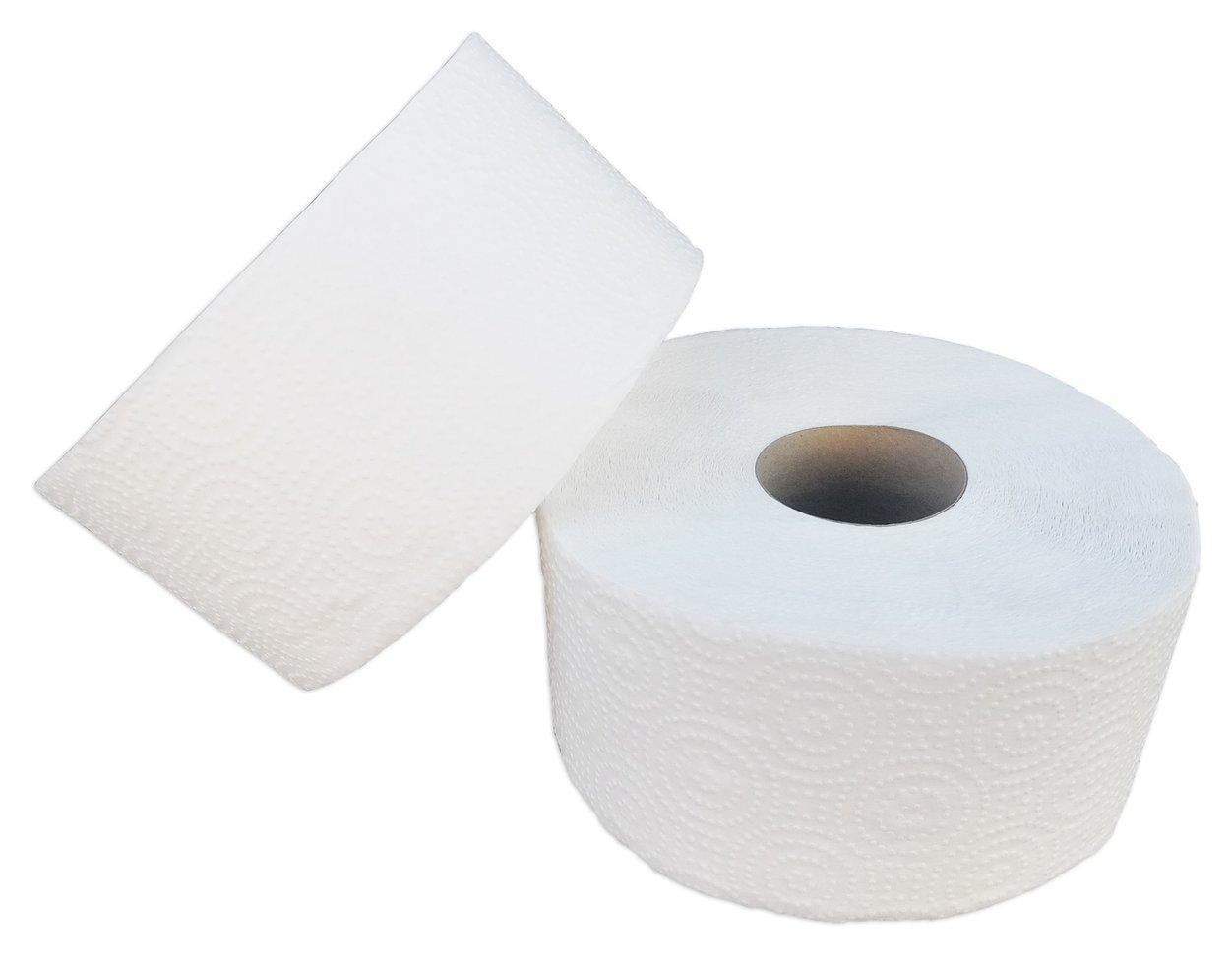 Туалетная бумага «Джамбо» двухслойная белая с перфорацией 100% целлюлоз. В рулоне 100 м (Green ix)