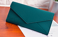 Зеленый кошелек на кнопке женский , фото 1