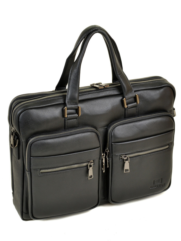 Мужской кожаный портфель черный BRETTON BE 5359-1 черный