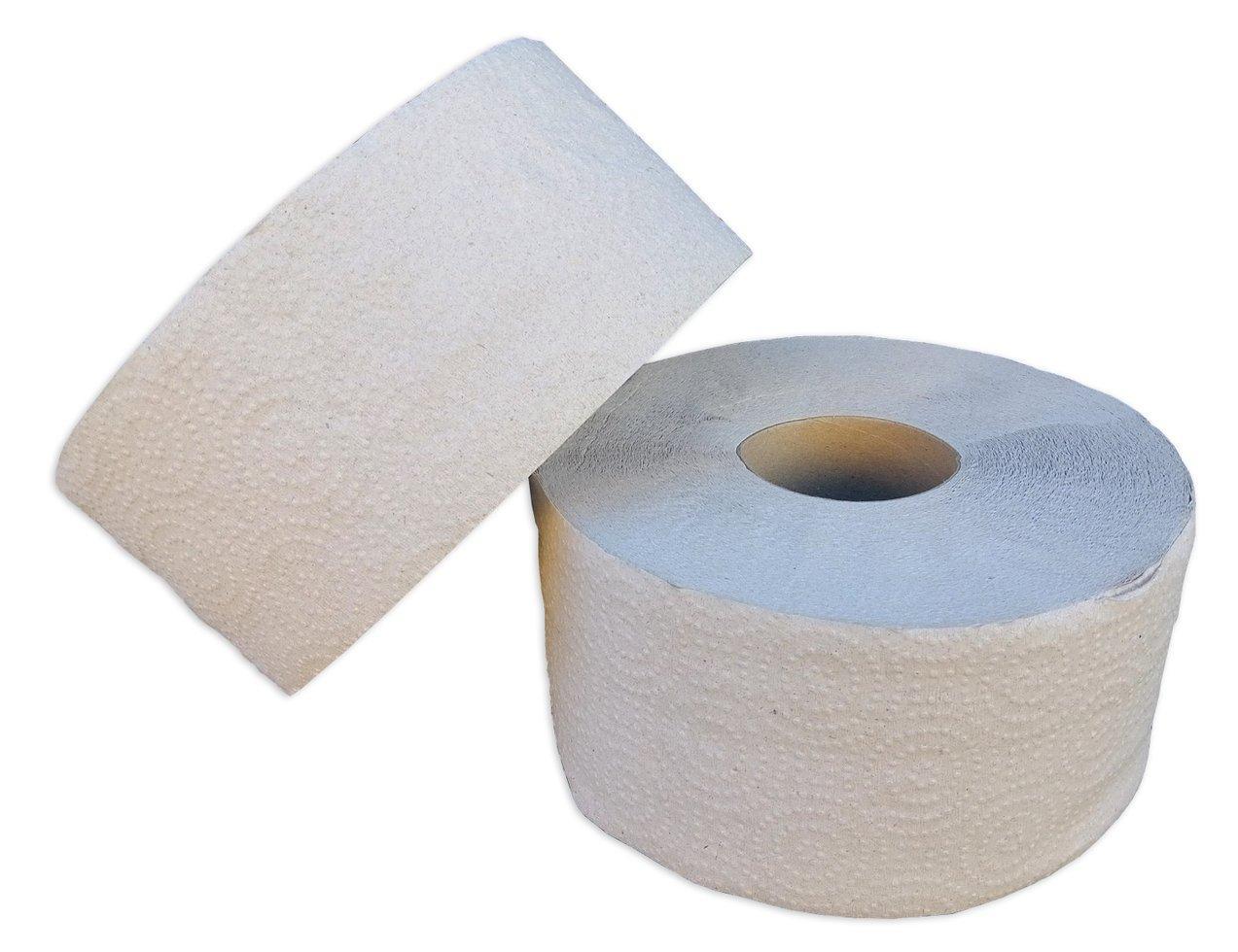 Туалетная бумага «Джамбо» однослойная серая с перфорацие. В рулоне 100 м (Green ix)