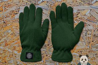 Теплые перчатки Stone Island зеленого цвета (люкс копия)