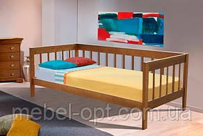 Детская односпальная кровать с бортиком Малибу 90х200, натуральное дерево ольха, цвет орех