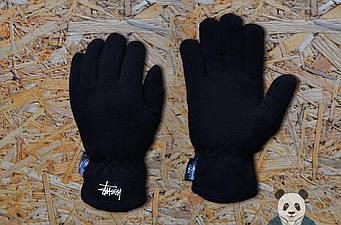Теплые перчатки Stussy черного цвета (люкс копия)