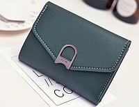 Зеленый женский маленький кошелек на кнопке, фото 1