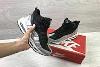 Кроссовки найк эйр макс 95 черные серые зимние кожаные с мехом (реплика) Nike Air Max 95 Black Grey Winter