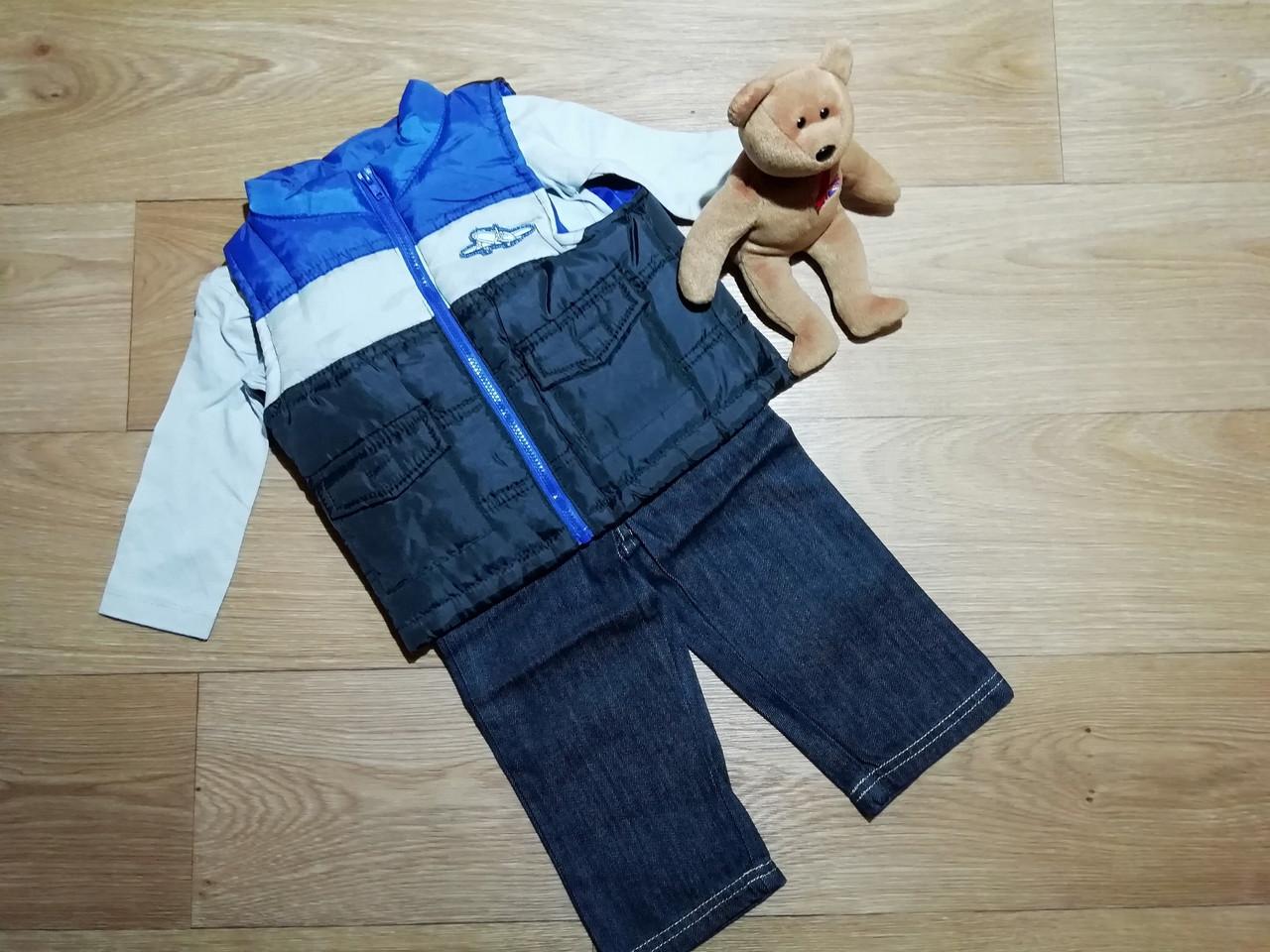 Тройка на мальчика жилетка, реглан и джинсы Peanut Buttons Размер 12 мес