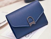 Маленький женский синий кошелек на кнопке, фото 1