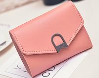 Женский маленький розовый кошелек на кнопке, фото 1