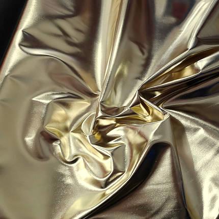 """Ткань стрейч кожа """"зеркало"""" светлое золото, фото 2"""