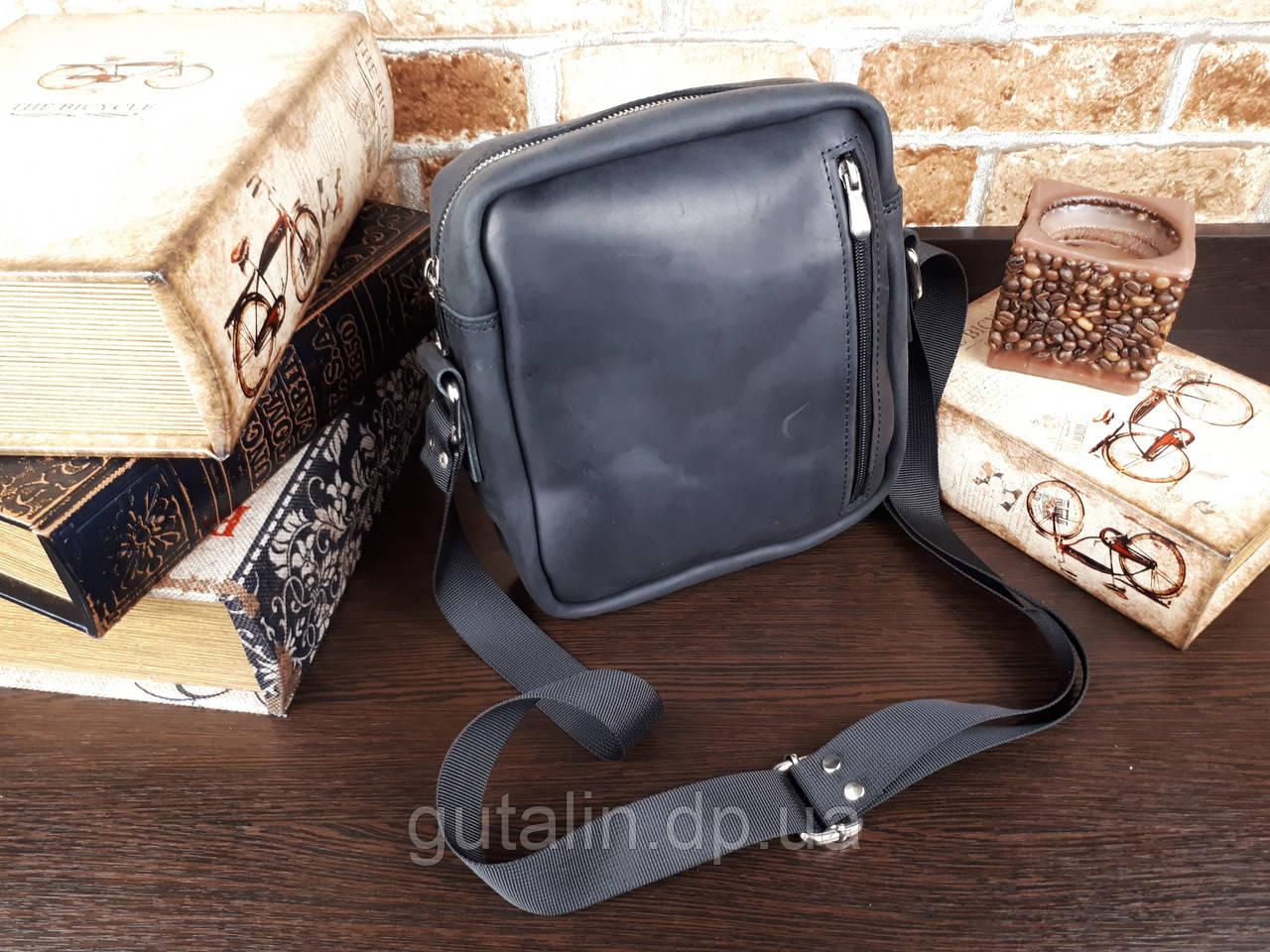 Мужская сумка ручной работы из натуральной кожи Классик цвет черный