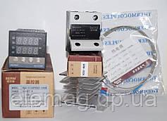 Цифровой ПИД-регулятор REX-C100, твердотельное реле BRM 40DA SSR, термопара 1 метр, радиатор