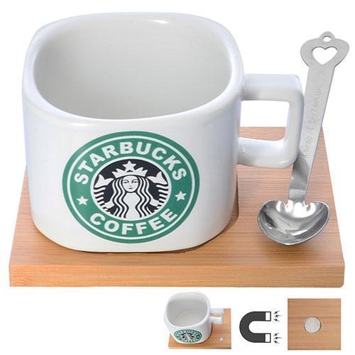 """Чашка """"Starbucks"""" 200мл с деревянной подставкой 9*12см и ложкой"""